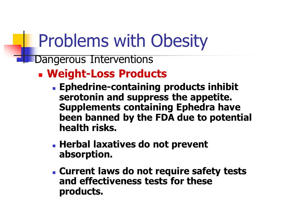 Problems with Obesity Dangerous Interventions Weight-Loss Products