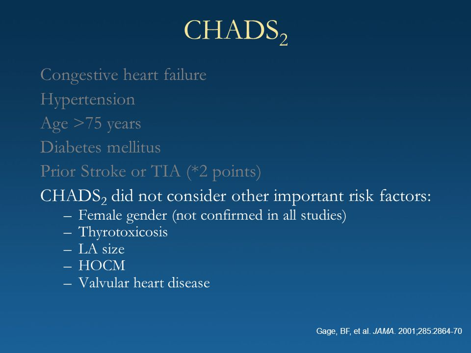 CHADS2 Congestive heart failure Hypertension Age >75 years