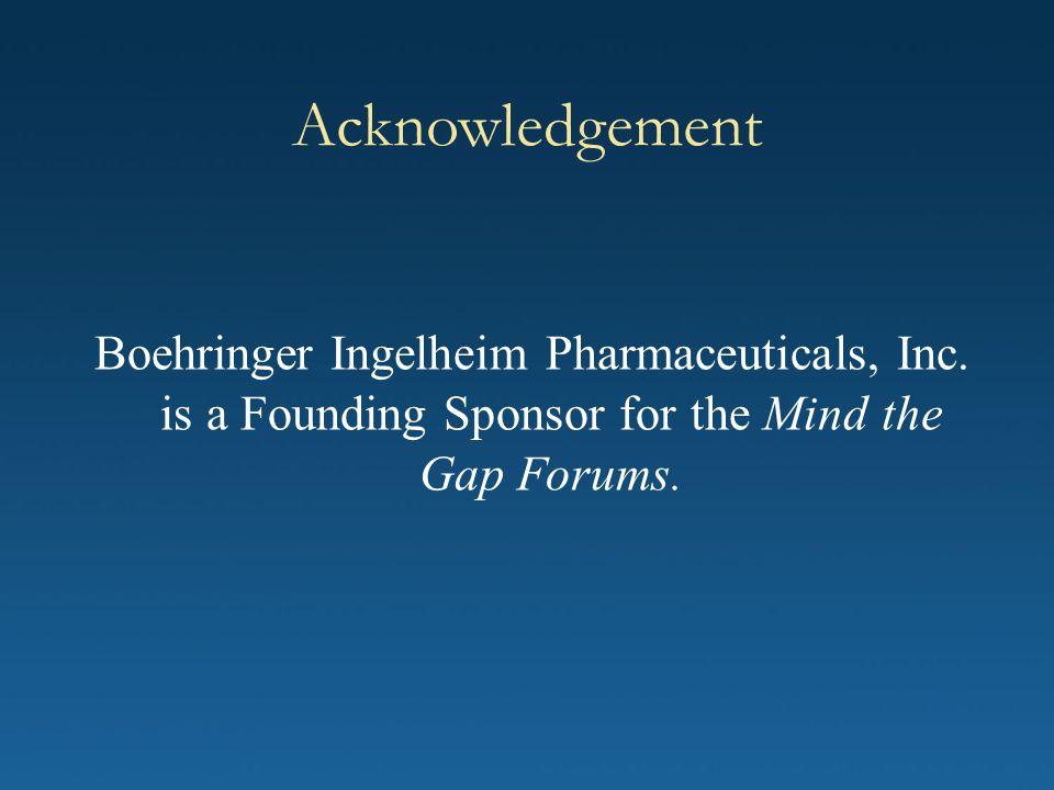 Acknowledgement Boehringer Ingelheim Pharmaceuticals, Inc.