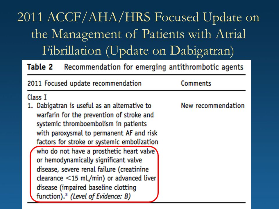 2011 ACCF/AHA/HRS Focused Update on the Management of Patients with Atrial Fibrillation (Update on Dabigatran)