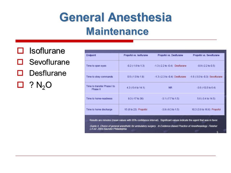 General Anesthesia Maintenance
