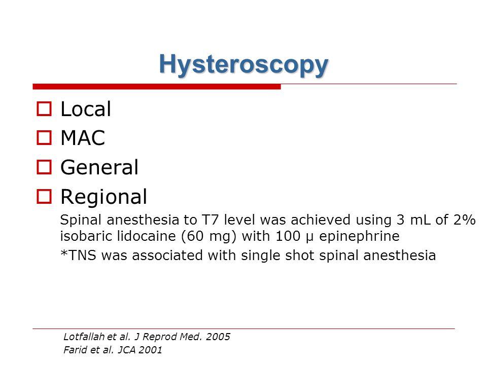 Hysteroscopy Local MAC General Regional