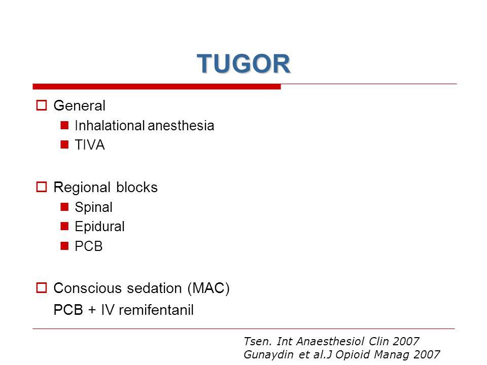 TUGOR General Regional blocks Conscious sedation (MAC)