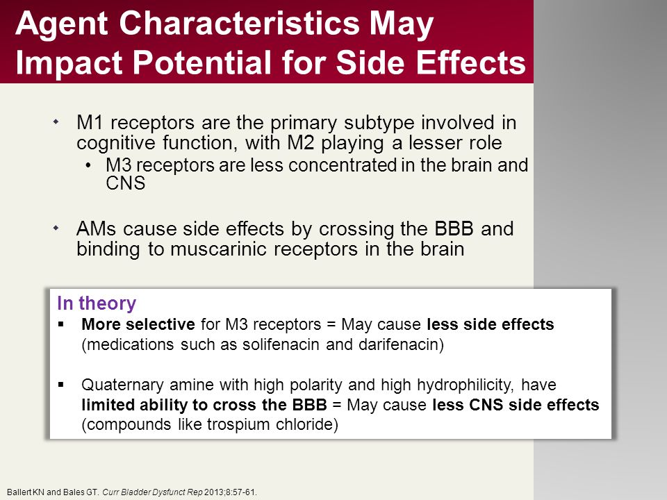 Agent Characteristics May Impact Potential for Side Effects