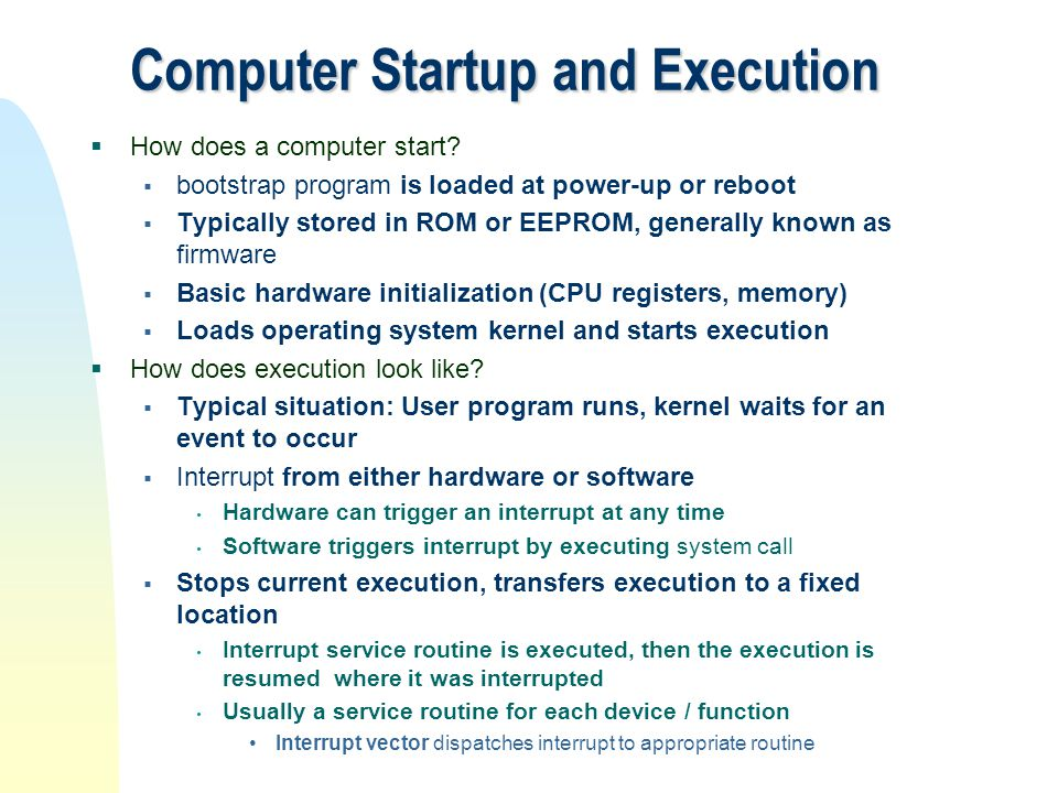Computer Startup and Execution