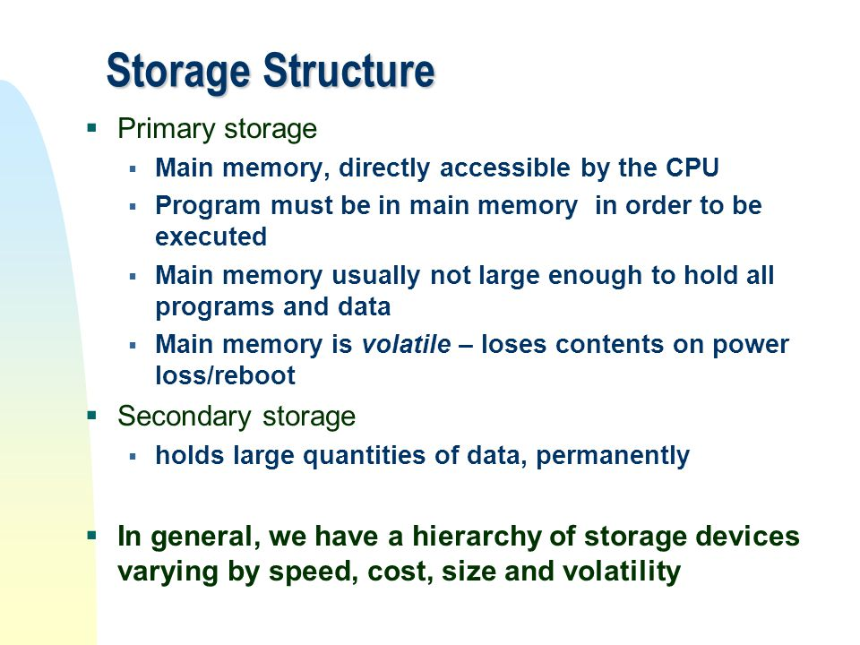 Storage Structure Primary storage Secondary storage