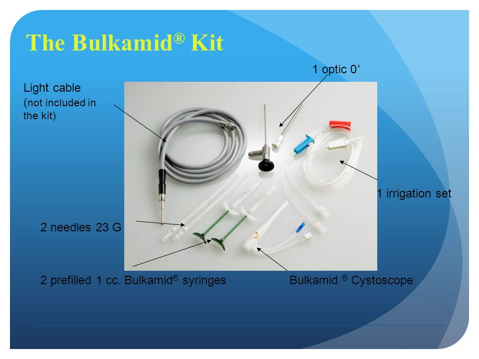 The Bulkamid® Kit 1 optic 0˚ Light cable (not included in the kit)