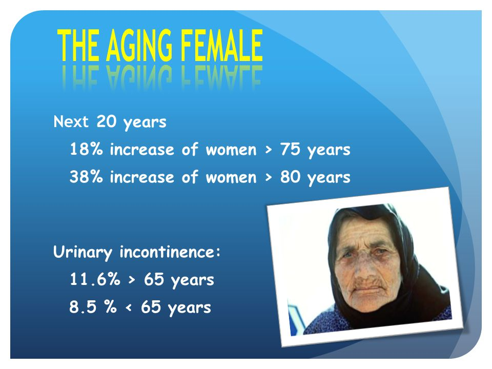 THE AGING FEMALE Next 20 years 18% increase of women > 75 years