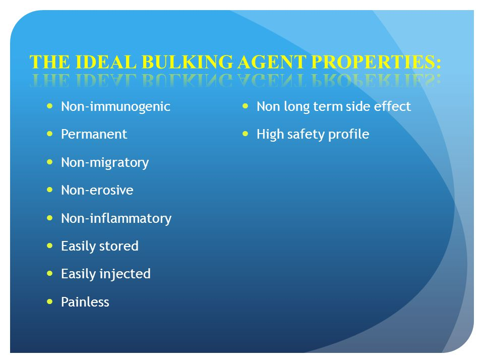 The ideal bulking agent properties: