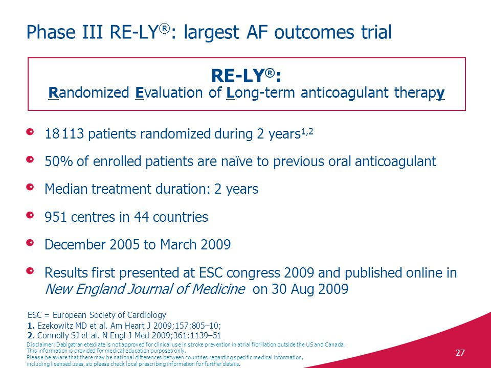Phase III RE-LY®: largest AF outcomes trial