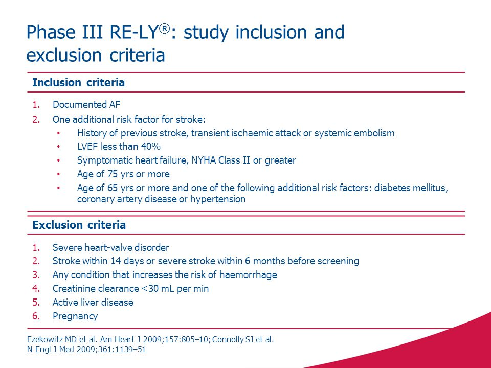 Phase III RE-LY®: study inclusion and exclusion criteria