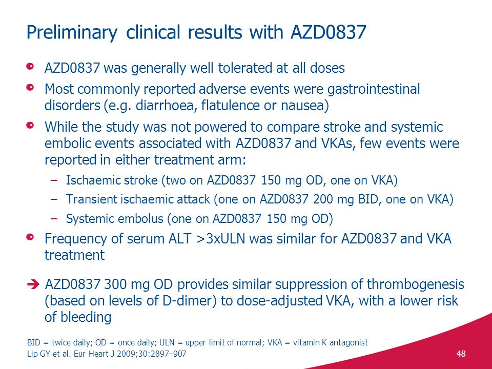 Preliminary clinical results with AZD0837