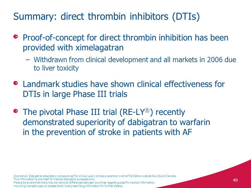 Summary: direct thrombin inhibitors (DTIs)