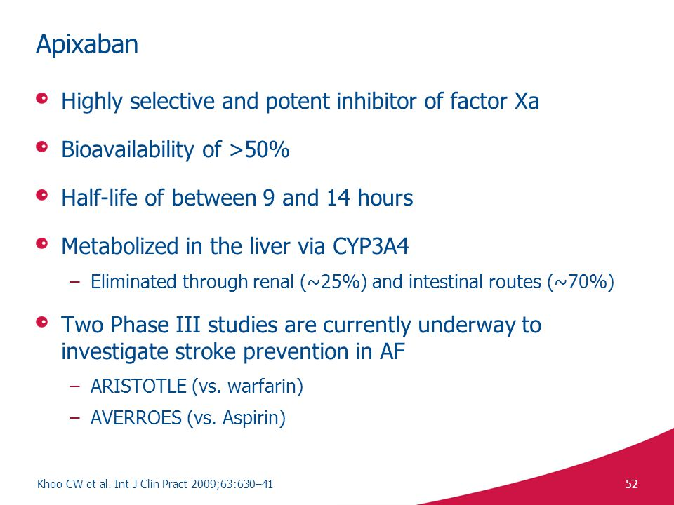Apixaban Highly selective and potent inhibitor of factor Xa