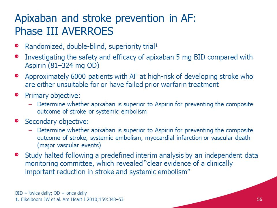 Apixaban and stroke prevention in AF: Phase III AVERROES