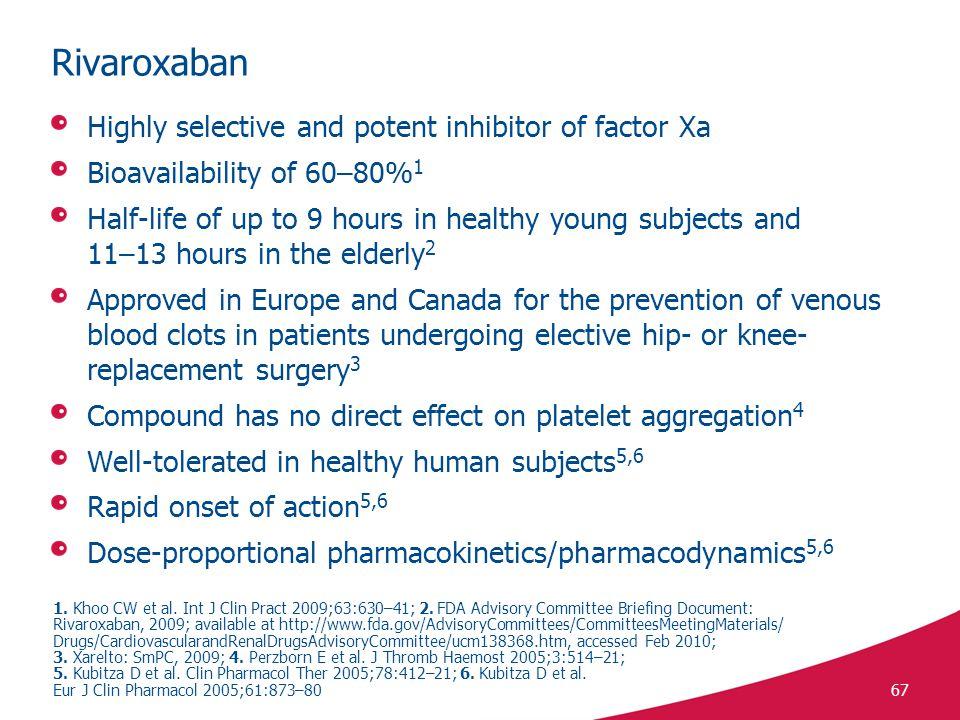 Rivaroxaban Highly selective and potent inhibitor of factor Xa