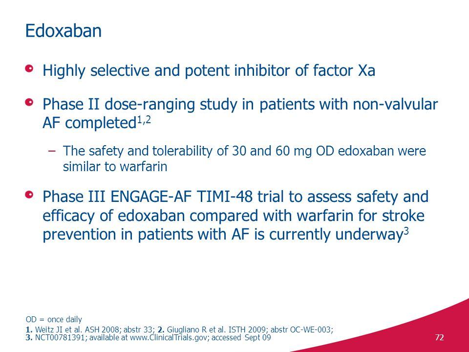 Edoxaban Highly selective and potent inhibitor of factor Xa