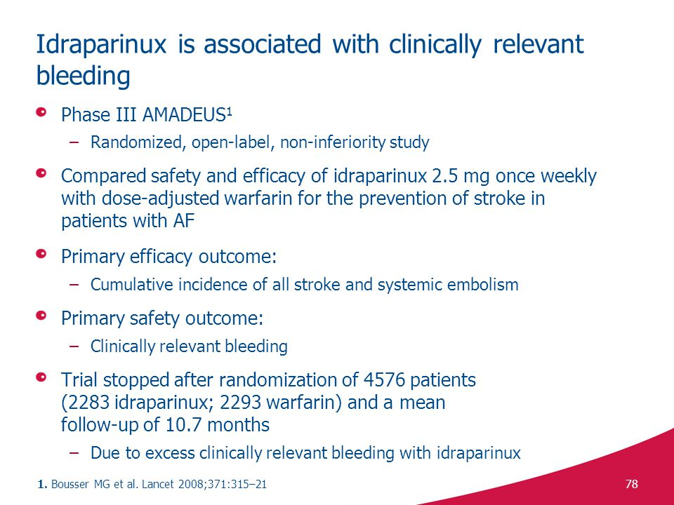 Idraparinux is associated with clinically relevant bleeding
