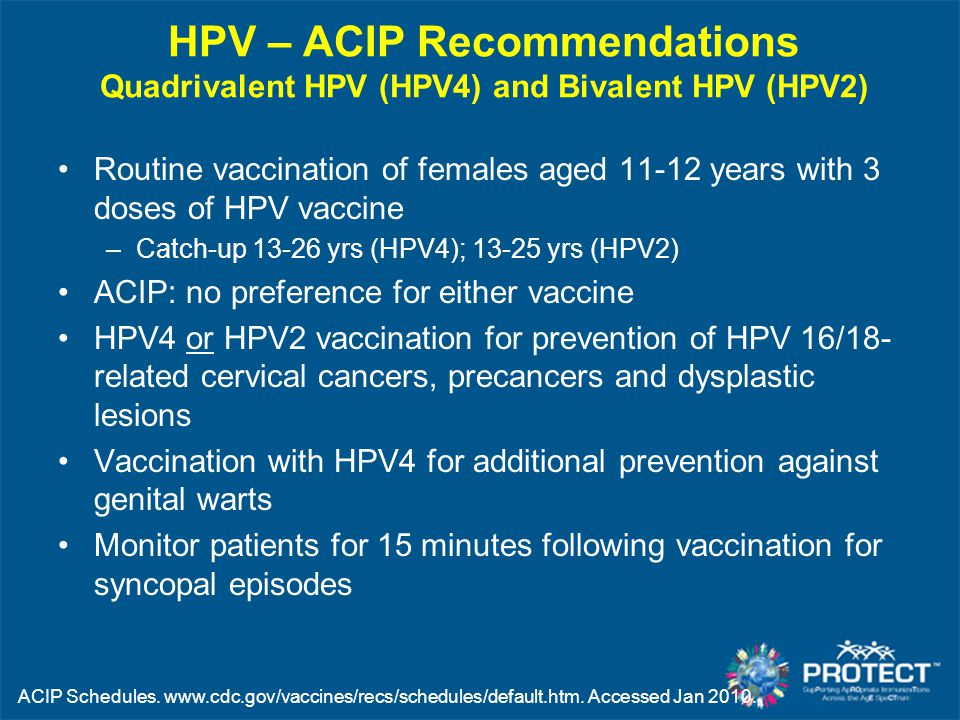 HPV – ACIP Recommendations Quadrivalent HPV (HPV4) and Bivalent HPV (HPV2)