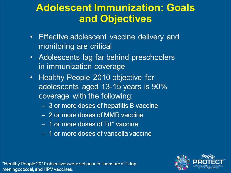 Adolescent Immunization: Goals and Objectives