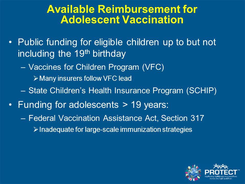 Available Reimbursement for Adolescent Vaccination