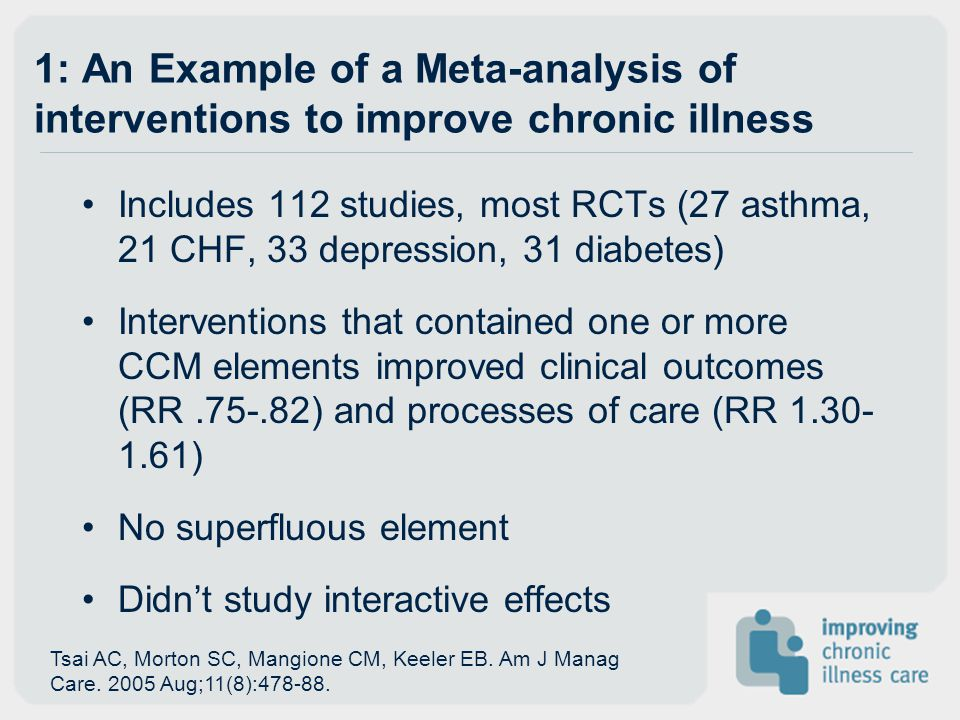 1: An Example of a Meta-analysis of interventions to improve chronic illness