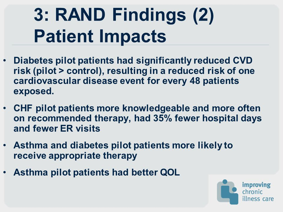 3: RAND Findings (2) Patient Impacts