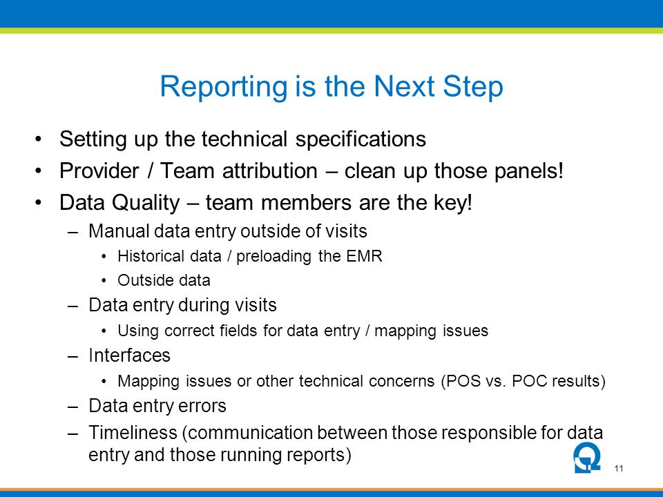 Reporting is the Next Step