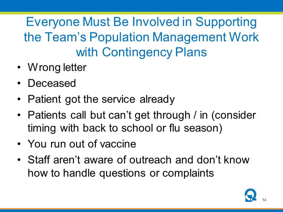 Everyone Must Be Involved in Supporting the Team's Population Management Work with Contingency Plans
