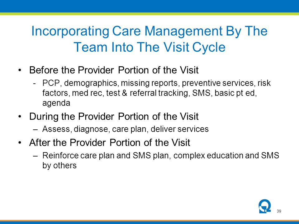 Incorporating Care Management By The Team Into The Visit Cycle