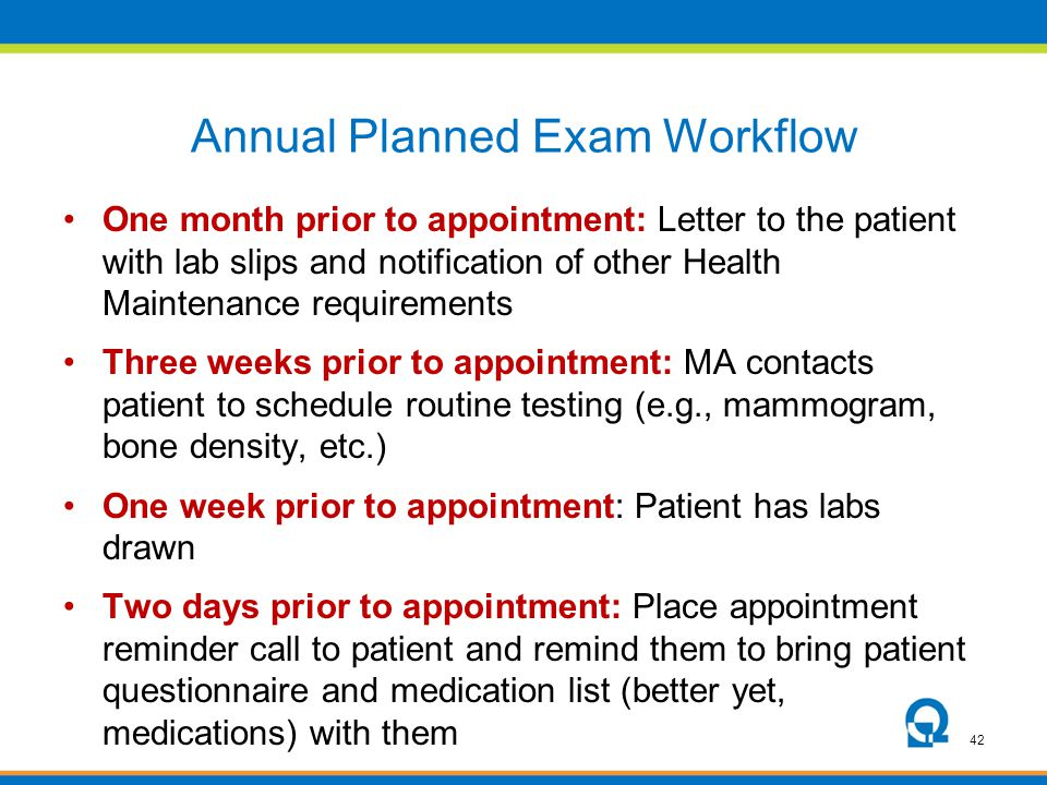 Annual Planned Exam Workflow