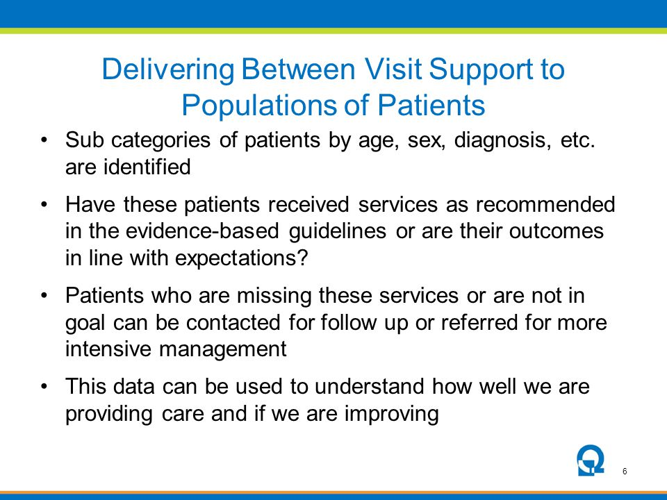 Delivering Between Visit Support to Populations of Patients
