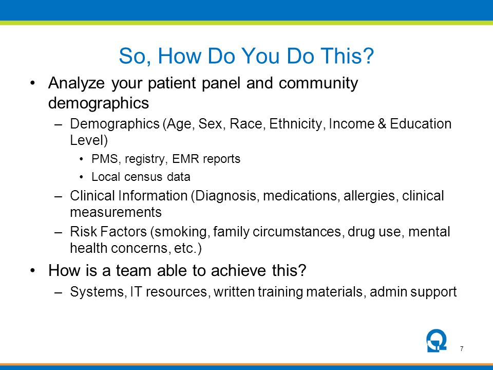 So, How Do You Do This Analyze your patient panel and community demographics. Demographics (Age, Sex, Race, Ethnicity, Income & Education Level)