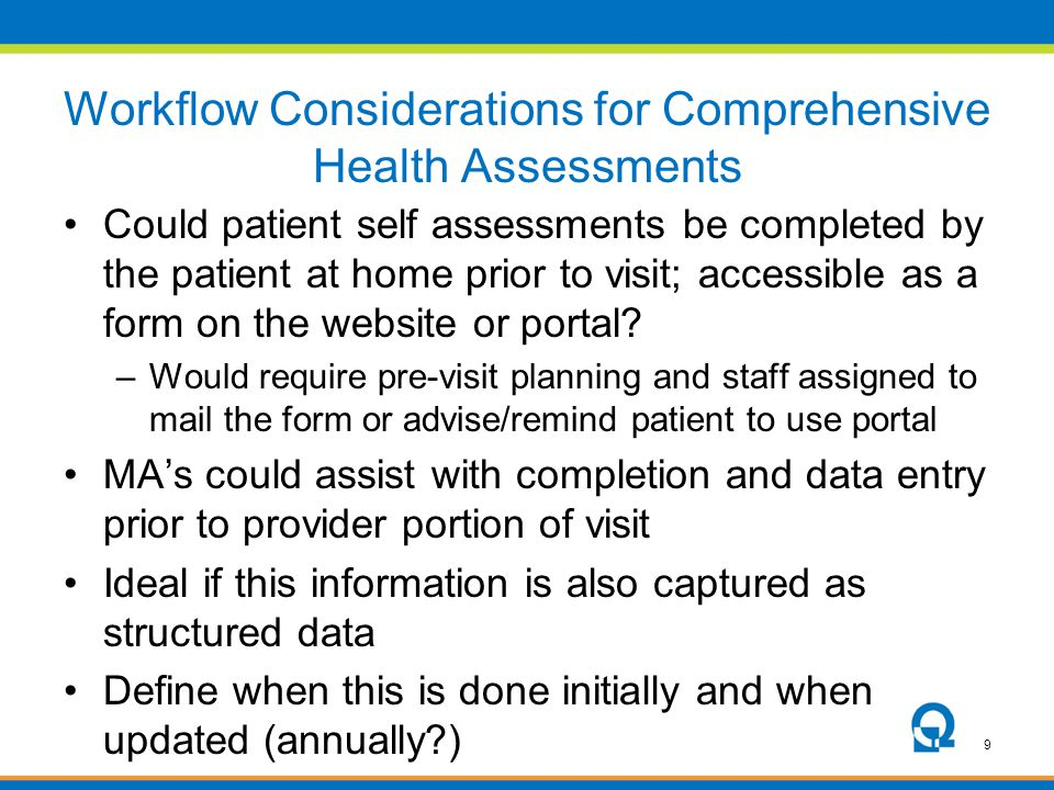 Workflow Considerations for Comprehensive Health Assessments