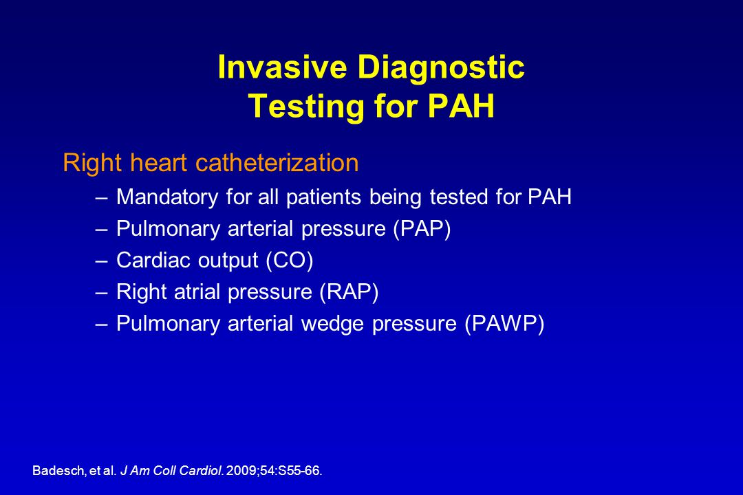 Invasive Diagnostic Testing for PAH