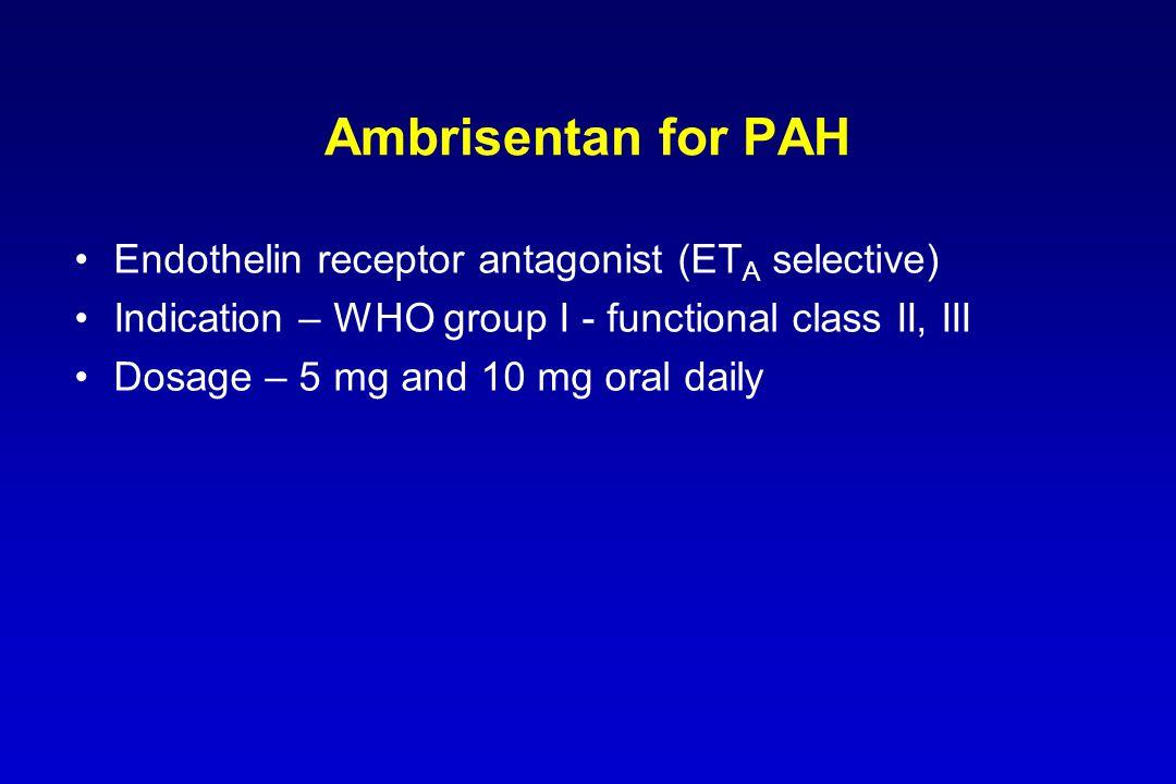 Ambrisentan for PAH Endothelin receptor antagonist (ETA selective)