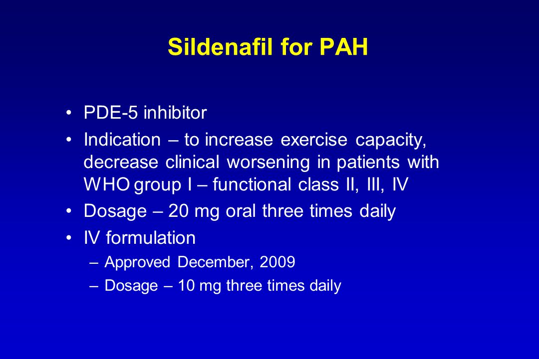 Sildenafil for PAH PDE-5 inhibitor