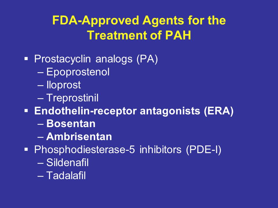 FDA-Approved Agents for the Treatment of PAH