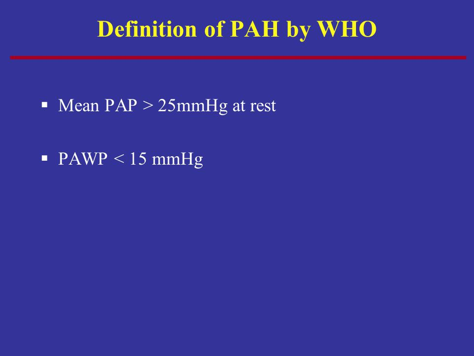 Definition of PAH by WHO