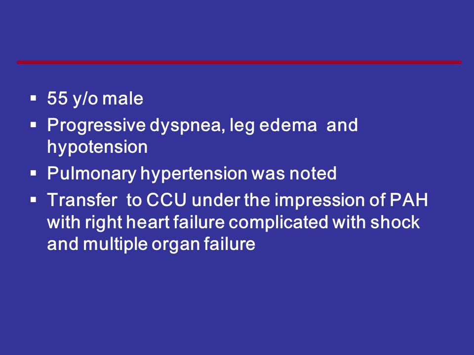 Case 55 y/o male Progressive dyspnea, leg edema and hypotension