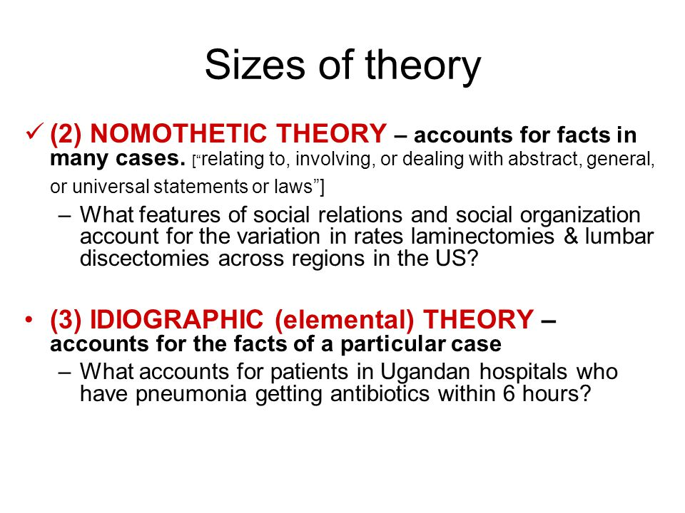 Sizes of theory