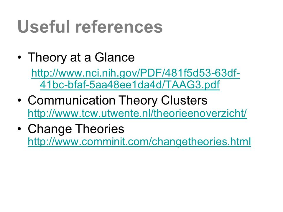 Useful references Theory at a Glance