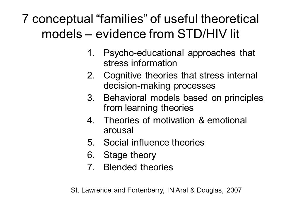 7 conceptual families of useful theoretical models – evidence from STD/HIV lit
