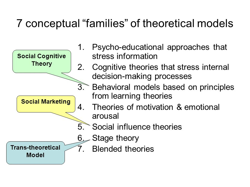 7 conceptual families of theoretical models