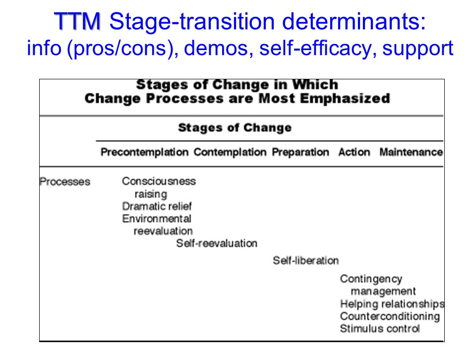 TTM Stage-transition determinants: info (pros/cons), demos, self-efficacy, support