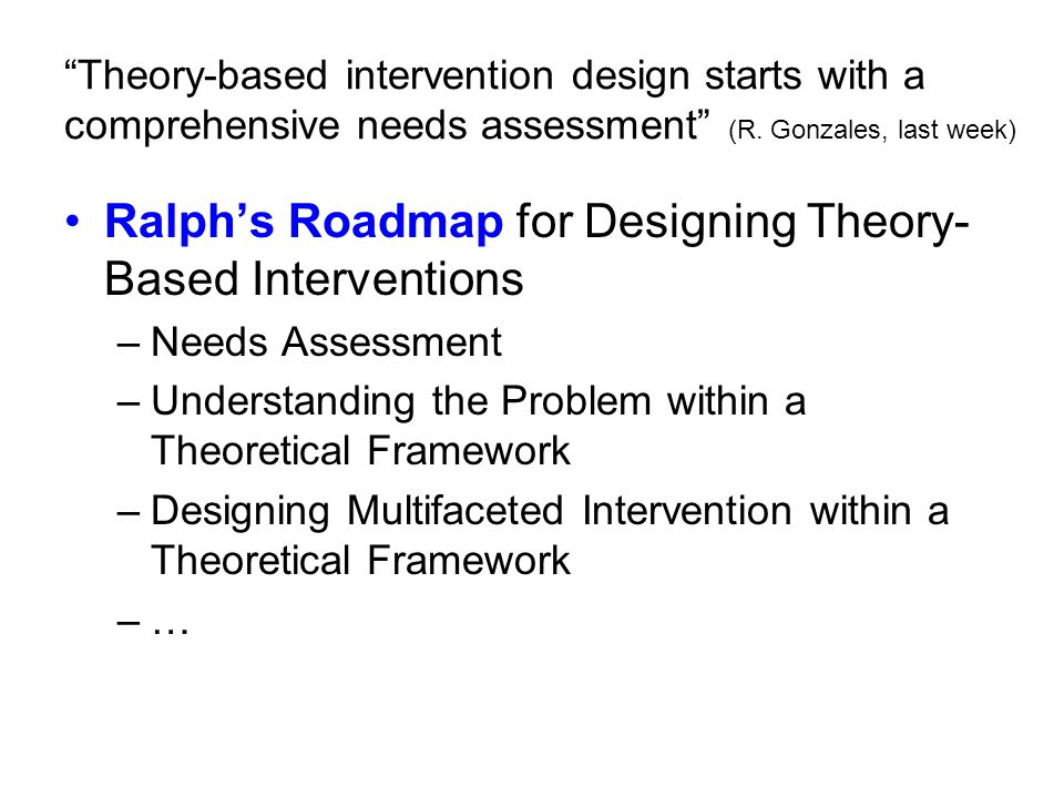 Ralph's Roadmap for Designing Theory-Based Interventions