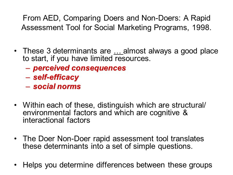From AED, Comparing Doers and Non-Doers: A Rapid Assessment Tool for Social Marketing Programs, 1998.