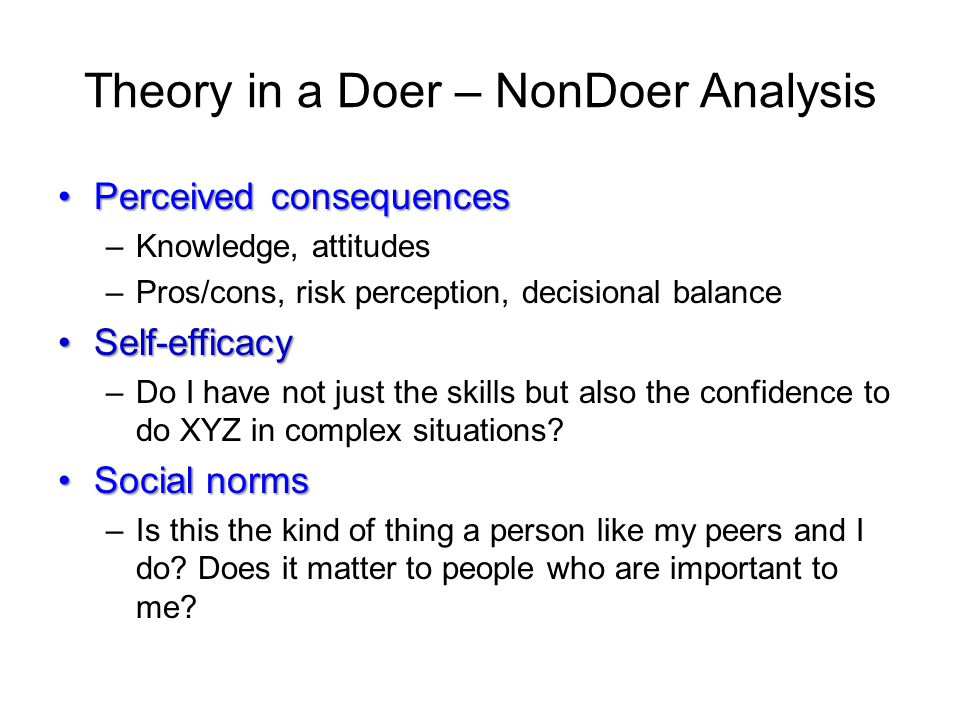 Theory in a Doer – NonDoer Analysis