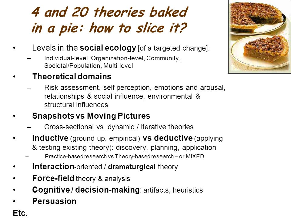 4 and 20 theories baked in a pie: how to slice it