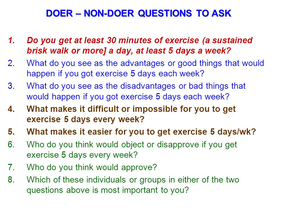 DOER – NON-DOER QUESTIONS TO ASK
